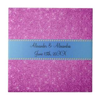 El boda favorece a brillo rosado la raya azul azulejo cuadrado pequeño