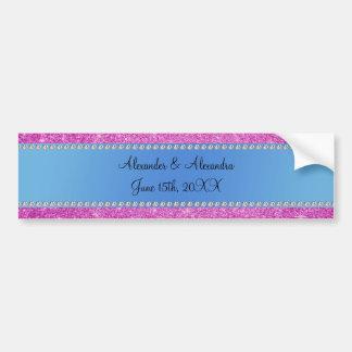 El boda favorece a brillo rosado la raya azul etiqueta de parachoque