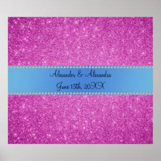 El boda favorece a brillo rosado la raya azul póster