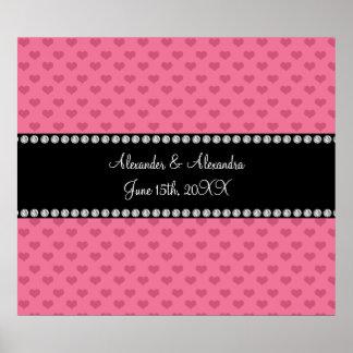 El boda favorece corazones rosados póster