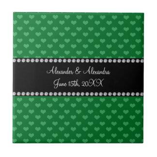 El boda favorece corazones verdes azulejo cuadrado pequeño