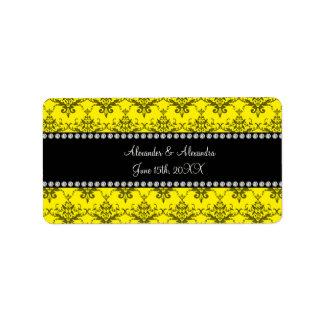 El boda favorece el damasco amarillo etiquetas de dirección