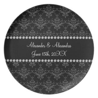 El boda favorece el damasco negro platos para fiestas