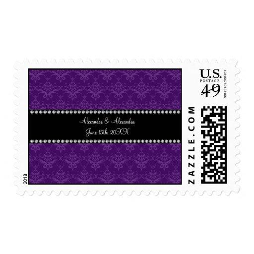 El boda favorece el damasco púrpura sellos postales