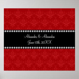 El boda favorece el damasco rojo poster