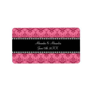 El boda favorece el damasco rosado etiqueta de dirección