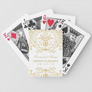 El boda favorece encanto del vintage del oro del | baraja de cartas bicycle