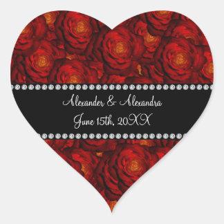 El boda favorece rosas rojos pegatina en forma de corazón