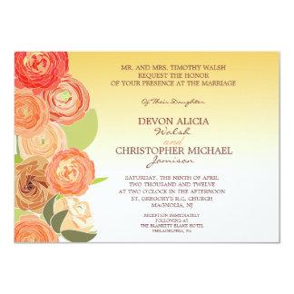 El boda floral abstracto de la caída de Ombre Invitaciones Personalizada