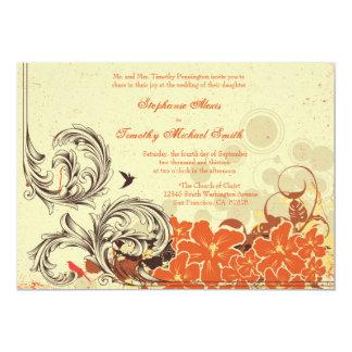 """El boda floral anaranjado apenado vintage invita invitación 5"""" x 7"""""""