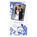 El boda floral azul y blanco le agradece tarjeta d tarjeta personal