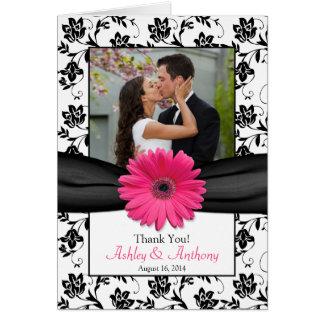 El boda floral blanco del negro rosado de la marga tarjeta de felicitación
