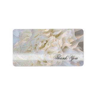 El boda floral blanco le agradece las etiquetas etiqueta de dirección