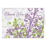 El boda floral blanco verde púrpura le agradece ca tarjetón