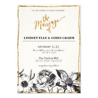 """El boda floral blanco y negro del brillo atractivo invitación 5"""" x 7"""""""