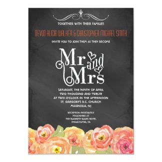 El boda floral de la acuarela de la caída de la invitación personalizada