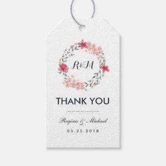 El boda floral de la guirnalda del vintage le etiquetas para regalos