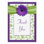 El boda floral de la margarita verde púrpura le ag felicitacion
