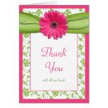 El boda floral de la margarita verde rosada le agr tarjetón