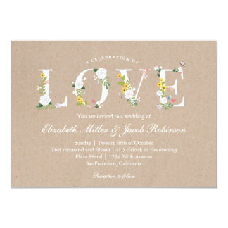 """El boda floral del amor invita invitación 5"""" x 7"""""""