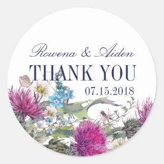 El boda floral del cardo escocés le agradece pegatina redonda
