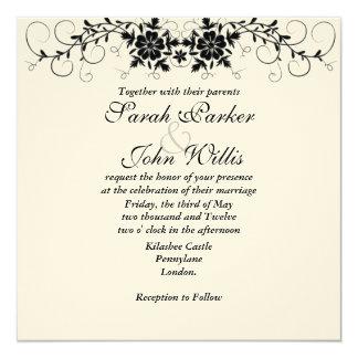 """El boda floral del Flourish invita Invitación 5.25"""" X 5.25"""""""