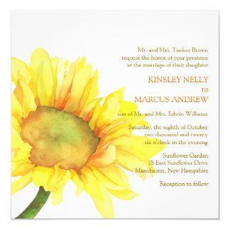 """El boda floral del girasol amarillo de la acuarela invitación 5.25"""" x 5.25"""""""