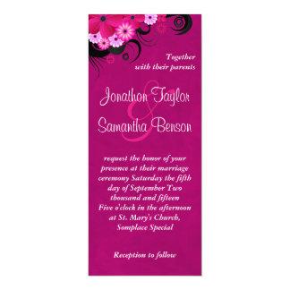 """El boda floral del hibisco fucsia invita a 4 a x invitación 4"""" x 9.25"""""""