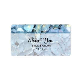 El boda floral del Hydrangea azul le agradece Etiqueta De Dirección
