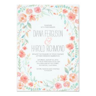 """El boda floral del jardín de la guirnalda de la invitación 5"""" x 7"""""""
