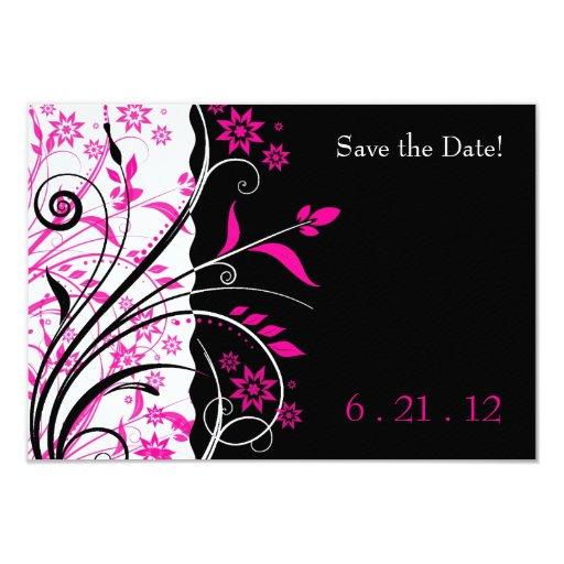 """El boda floral del rosa y del negro ahorra las invitación 3.5"""" x 5"""""""