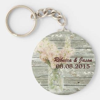 el boda floral del tarro de albañil del país rústi llavero