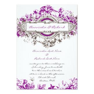 """El boda floral del vintage blanco púrpura de la invitación 5"""" x 7"""""""