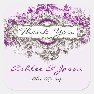 El boda floral del vintage púrpura de la lila le pegatina cuadrada