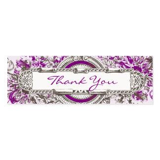 El boda floral del vintage púrpura le agradece mar tarjetas de visita