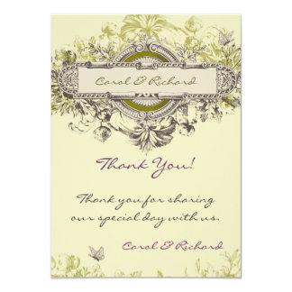 """El boda floral del vintage verde le agradece invitación 4.5"""" x 6.25"""""""