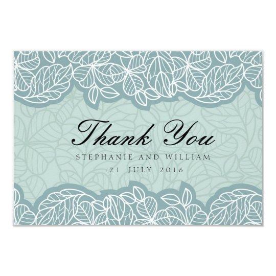 """El boda floral le agradece cardar en azul invitación 3.5"""" x 5"""""""
