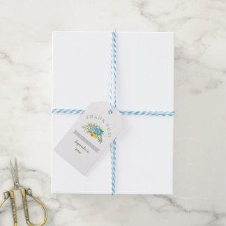 El boda floral moderno de las flores azules le etiquetas para regalos