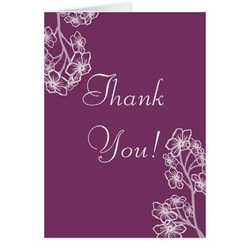 El boda floral moderno púrpura le agradece tarjeta pequeña