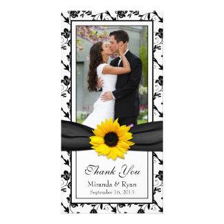 El boda floral negro de la cinta del girasol le ag tarjetas fotográficas