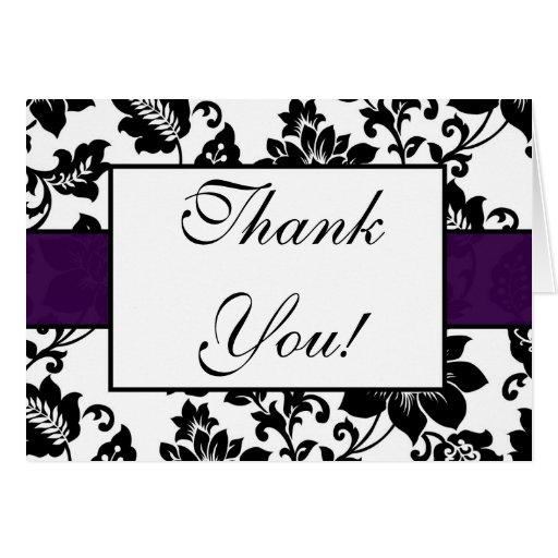 El boda floral negro/púrpura del damasco le agrade felicitación