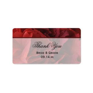 El boda floral rojo le agradece etiquetar etiqueta de dirección