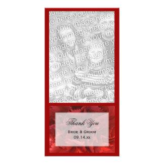 El boda floral rojo le agradece tarjeta de la foto tarjetas con fotos personalizadas