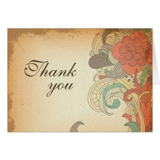 El boda floral rojo marrón del vintage le agradece felicitacion