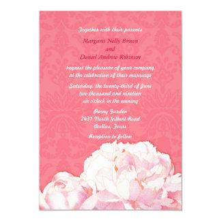 El boda floral rosado coralino del Peony de la Anuncio