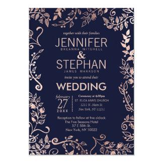 """El boda floral subió los azules marinos elegantes invitación 5"""" x 7"""""""