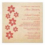 El boda floral tropical rojo invita invitación 13,3 cm x 13,3cm