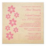 El boda floral tropical rosado invita invitación 13,3 cm x 13,3cm