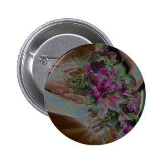 El boda florece las manos Solarized Pin Redondo De 2 Pulgadas