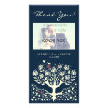 El boda floreciente del árbol de amor le agradece  tarjetas con fotos personalizadas
